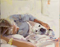 Dog Cuddles by Laura Lacambra Shubert