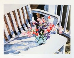 Vase of Flowers on Bench by William C. Wright