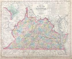 Map of Virginia by Johnson & Ward