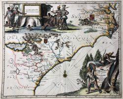 Viginiae Partis Australis, et Floridae, c. 1671  by Arnoldus Montanus (1625-1683)