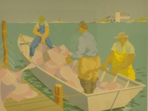 Loading Nets, Ocracoke by Claude  Howell